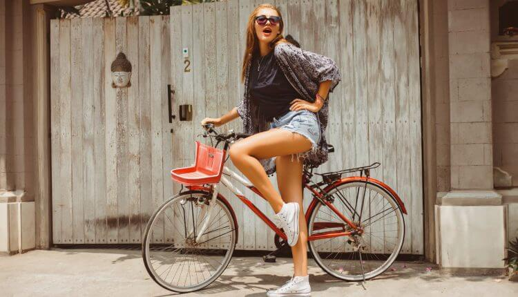 Rides Bicycle and Haves Fun